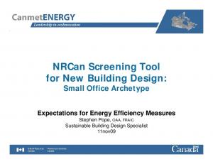 NRCan Screening Tool for New Building Design: Small Office Archetype