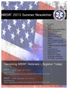 NREMT 2015 Summer Newsletter