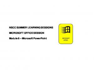 NSCC SUMMER LEARNING SESSIONS MICROSOFT OFFICE SESSION