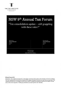 NSW 9 th Annual Tax Forum