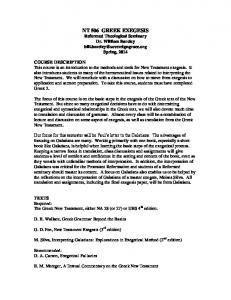 NT 506 GREEK EXEGESIS Reformed Theological Seminary Dr. William Barcley Spring, 2014