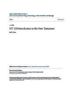 NT 520 Introduction to the New Testament