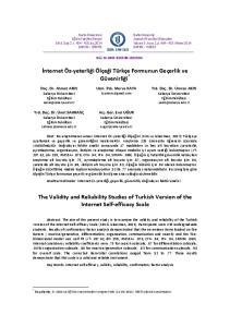 İnternet Öz-yeterliği Ölçeği Türkçe Formunun Geçerlik ve Güvenirliği *