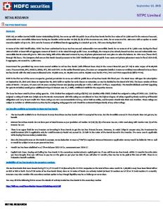 NTPC Limited RETAIL RESEARCH. September 22, 2015 RETAIL RESEARCH. Tax Free Bond Issue. Summary: