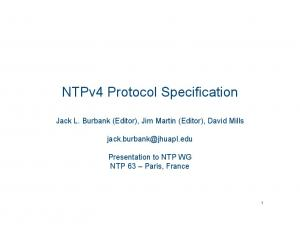 NTPv4 Protocol Specification