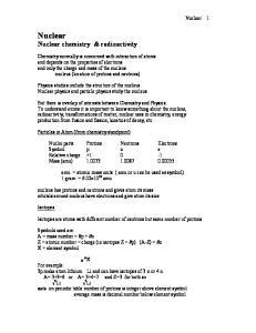 Nuclear Nuclear chemistry & radioactivity