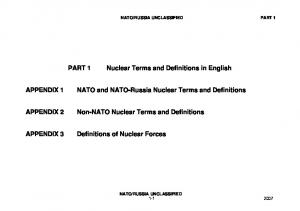 Nuclear Terms and Definitions in English. NATO and NATO-Russia Nuclear Terms and Definitions