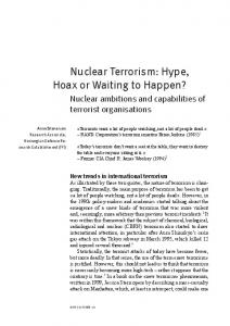 Nuclear Terrorism: Hype, Hoax or Waiting to Happen?