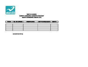 NUEVA ALIANZA CUENTA BANCARIA BANORTE GASTO ORDINARIO ENERO 2013 FECHA NO. DE CHEQUE BENEFICIARIO MOTIVO EROGACION MONTO