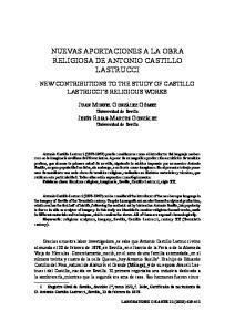 NUEVAS APORTACIONES A LA OBRA RELIGIOSA DE ANTONIO CASTILLO LASTRUCCI