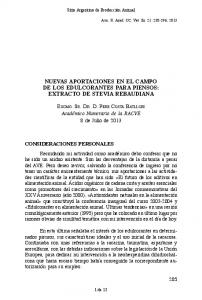 NUEVAS APORTACIONES EN EL CAMPO DE LOS EDULCORANTES PARA PIENSOS: EXTRACTO DE STEVIA REBAUDIANA