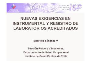 NUEVAS EXIGENCIAS EN INSTRUMENTAL Y REGISTRO DE LABORATORIOS ACREDITADOS