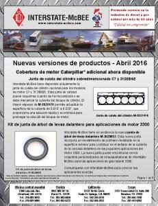 Nuevas versiones de productos - Abril 2016