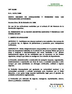 NUEVO REGIMEN DE JUBILACIONES Y PENSIONES PARA LOS TRABAJADORES AUTONOMOS-