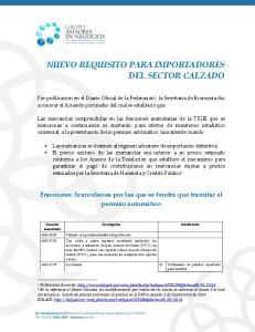 NUEVO REQUISITO PARA IMPORTADORES DEL SECTOR CALZADO