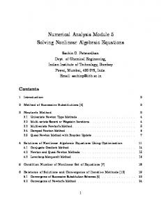 Numerical Analysis Module 5 Solving Nonlinear Algebraic Equations