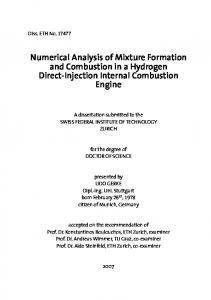 Numerical Analysis of Mixture Formation and Combustion in a Hydrogen Direct-Injection Internal Combustion Engine
