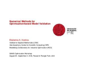 Numerical Methods for Optimization-based Model Validation