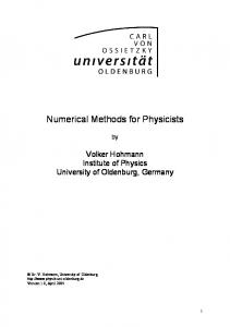 Numerical Methods for Physicists