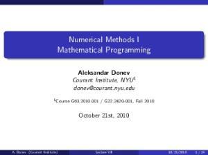 Numerical Methods I Mathematical Programming