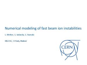 Numerical modeling of fast beam ion instabilities