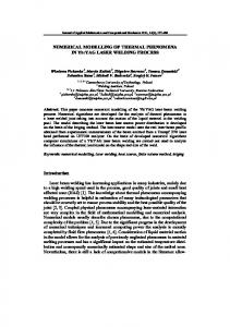 NUMERICAL MODELLING OF THERMAL PHENOMENA IN Yb:YAG LASER WELDING PROCESS