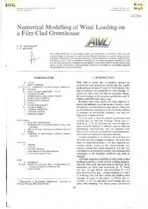 Numerical Modelling of Wind Loading on a Film Clad Greenhouse