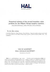 Numerical solution of the second boundary value problem for the Elliptic Monge-Ampère equation