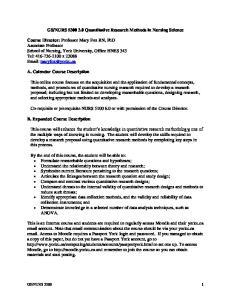 NURS Quantitative Research Methods in Nursing Science