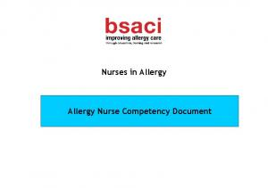 Nurses in Allergy. Allergy Nurse Competency Document