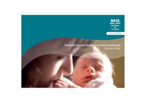 Nursing and Midwifery. Perinatal Mental Health Curricular Framework October 2006