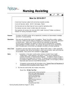 Nursing Assisting. New for