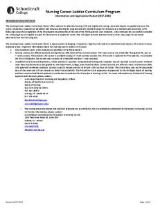 Nursing Career Ladder Curriculum Program Information and Application Packet