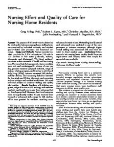 Nursing Effort and Quality of Care for Nursing Home Residents
