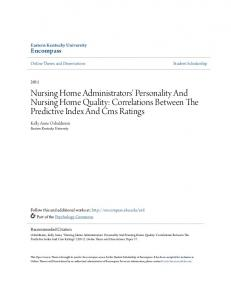 Nursing Home Administrators' Personality And Nursing Home Quality: Correlations Between The Predictive Index And Cms Ratings