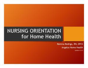 NURSING ORIENTATION for Home Health