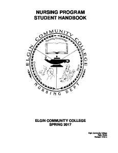NURSING PROGRAM STUDENT HANDBOOK
