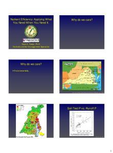 Nutrient Efficiency: Applying What You Need When You Need It. Why do we care? Why do we care? Soil Test P vs. Runoff P