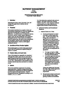 NUTRIENT MANAGEMENT (Acre) Code 590