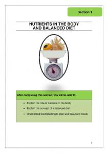 NUTRIENTS IN THE BODY AND BALANCED DIET
