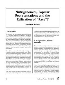 Nutrigenomics, Popular Representations and the Reification of Race?