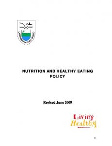 NUTRITION AND HEALTHY EATING POLICY