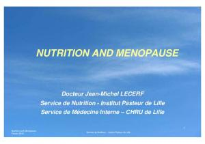 NUTRITION AND MENOPAUSE