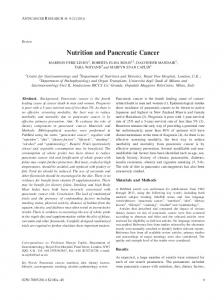 Nutrition and Pancreatic Cancer