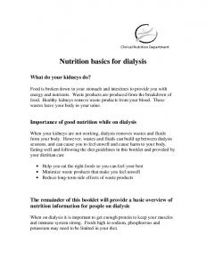 Nutrition basics for dialysis