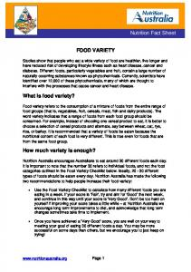 Nutrition Fact Sheet FOOD VARIETY. What is food variety? How much variety is enough?