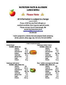 NUTRITION FACTS & ALLERGEN LUNCH MENU. Please Note