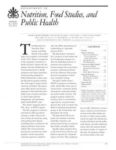 Nutrition, Food Studies, and Public Health