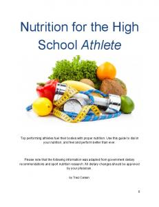 Nutrition for the High School Athlete