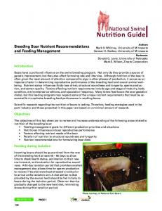 Nutrition Guide. National Swine. Breeding Boar Nutrient Recommendations and Feeding Management. Introduction. Objectives. Feeding during isolation